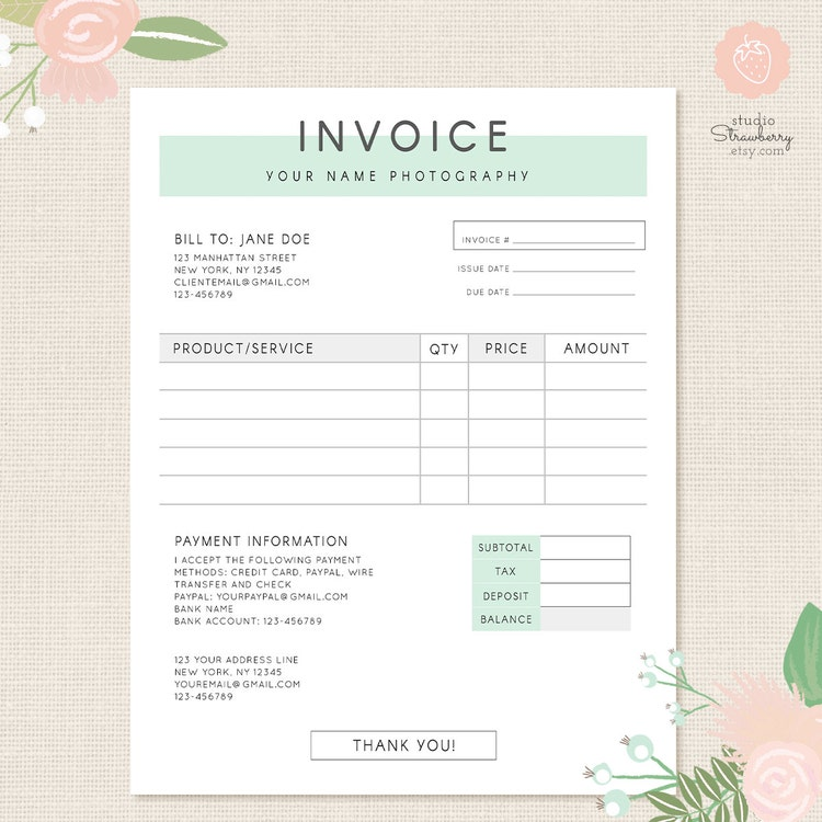 Invoice Template Photography Invoice Business By