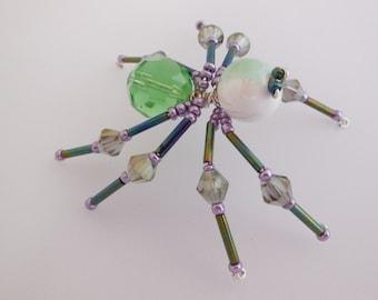 Green, Purple Beaded Spider