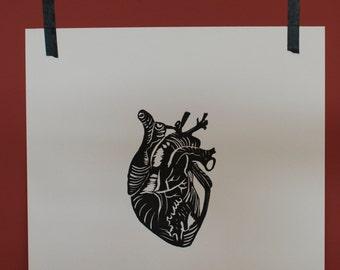 HEART //Handmade Lino Print