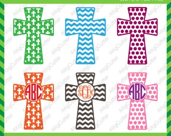 Easter Cristian Cross Patterned Frames SVG DXF PNG eps Monogram Cut File for Cricut Design, Silhouette studio, Sure Cut A Lot, Makes the Cut