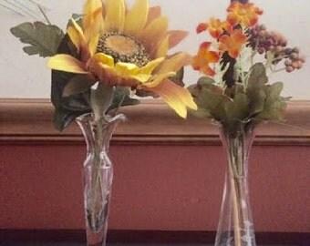 2 Vintage Etched Glass Bud Vases
