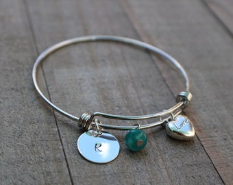 Personalized Bracelet with Love Heart Charm, Customized Bangle Bracelet, Expandable Bangle Bracelet, Personalized Charm Bracelet CB123001