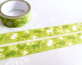 Green forest Washi tape 5M x 1.5cm garden Abstract forest masking tape deer rabbit squirrel bird washi tape rainforest decor sticker tape
