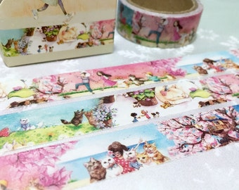 5M cat holiday washi tape cat journey my pet cat meow meow cartoon furry cat masking tape kitten sticker tape cat life cat planner cat decor