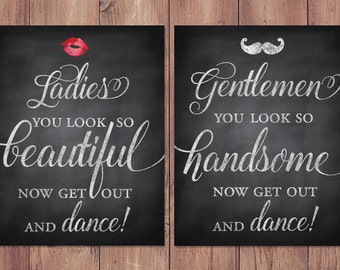 wedding bathroom signs - rustic - womens and mens restroom - his and hers bathroom signs - PRINTABLE 8x10 - 5x7 (set of two)