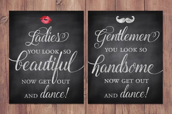 Wedding Bathroom Signs Rustic Womens And Mens Restroom