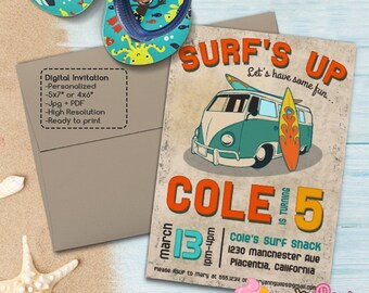 Vintage Surf Birthday Party invitations DIY Surf's Up Summer Birthday Party printable invite