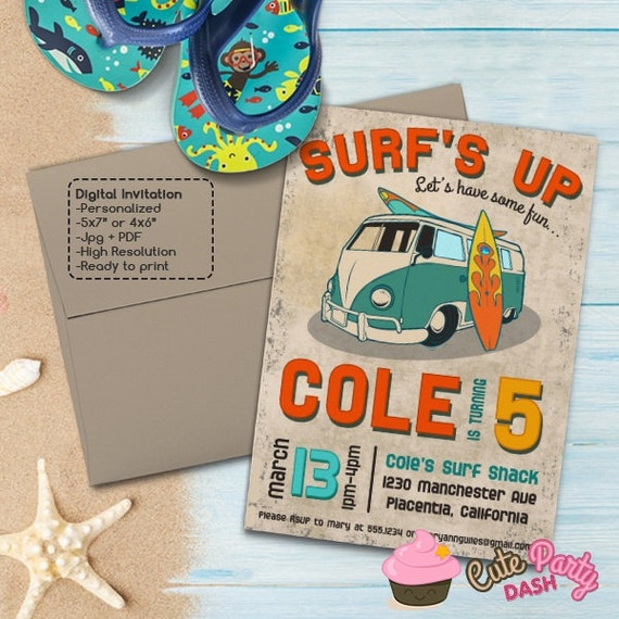 Vintage Surf Birthday Party Invitations DIY Surf's Up