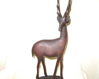 Vintage Hand-carved Wooden African Gazelle