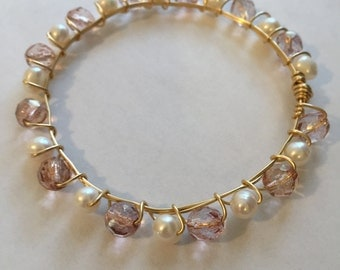 Pearl and Pink Bead Wire Wrapped Bracelet