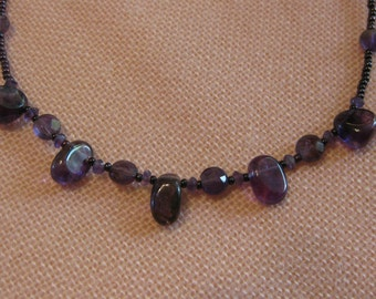 Amethyst crystal bead necklace