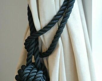 Black Rope Monkey Fist Knot Curtain Tiebacks