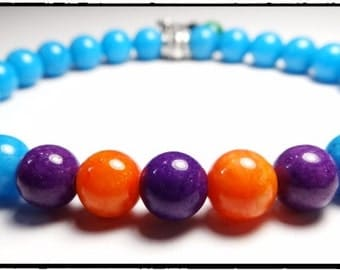 LivHeart Bracelet, Beaded Bracelet, Stretch Bracelet, 8mm Beads, 9 in, Blue, Orange and Purple Jade Beads
