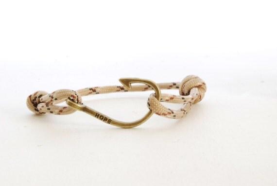 Hope fish hook bracelet womens mens rope knotted bracelet for Mens fishing bracelet