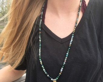 Moss Agate Long Necklace with Gold Buddha