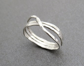 Valentines day gift, Unique Silver ring, Silver band, infinity ring, Hammered ring, silver wedding ring, handmade ring, silver infinity ring