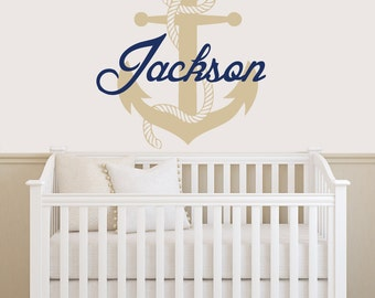 Personalized Anchor WALL DECAL Boy Name Vinyl Sticker Decals Custom Name  Decals Nautical Anchor Name Decor Part 60