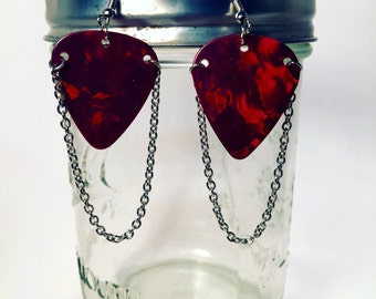 Guitar Pick Dangle Earings with Chain MULTIPLE COLORS