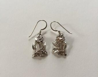 Beautiful Vintage Sterling Silver Rose Dangle Earrings