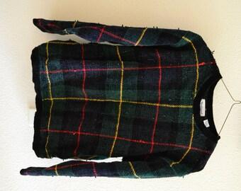 Plaid Fuzzy Sweater Vintage Oversized 90s L
