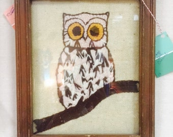Vintage owl crewel embroidery art