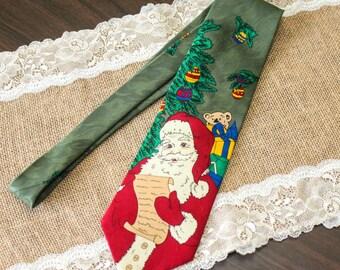 Vintage Mens Christmas Necktie Tie Santa Claus Christmas Tie Gift