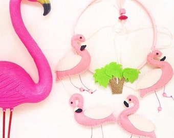 Baby mobile pink flamingos