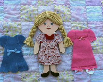 Felt Doll! Wooden Doll! Felt Paper Doll! Rag Doll! Flat Doll! Travel Toy! Quiet Toy! Old Fashioned Doll! Christmas Gift! Ready To Ship!