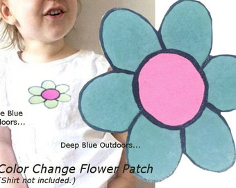Girl Applique, Blue Flower Patch, Color Change Iron On, Child Clothing Accessory, Hand Painted, Flower, DIY Craft, Magic Iron On