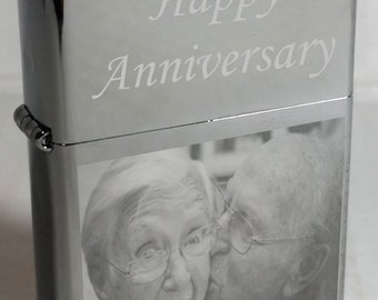 Photo Engraved Zippo Lighter with Free Text - Great Idea on High Polish Chrome 250 Zippo - Customized