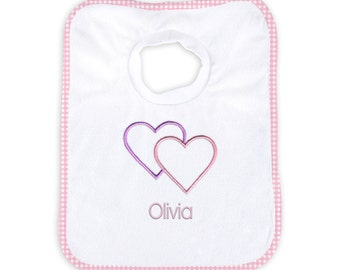 Personalized Baby Girl Bib with Two Hearts
