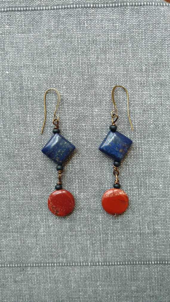 Red Blue Stone : Stone brick red and royal navy blue dangle earrings on copper