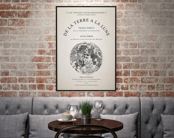 """Vintage Typography Poster - """"De La Terre A La Lune/From The Earth To The Moon"""" - Vintage Moon Decor, Typography Decor, Vintage French Art"""