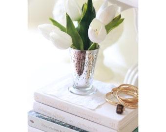 NEW white faux tulip arrangement in silver mercury glass, artificial tulips