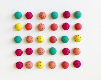 50% OFF CLEARANCE SALE - 30pcs  Mixed Color Flatback Polka Dots Fabric Covered Round Cabochons - 15mm (was 4.00)