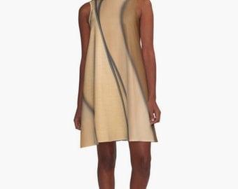 Lion Brown Soft Tan Dress, Curved Black Lines, Brown Beautiful Drape Sleeveless Dress, Geometric Print Casual Dress, Women's XS S M L XL 2XL