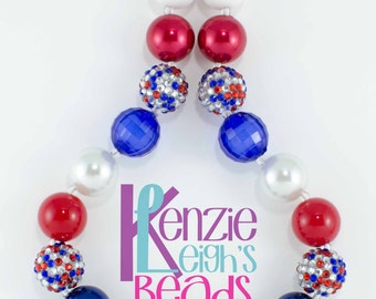 Confetti Red White & Blue Patriotic Chunky Necklace - Child Size
