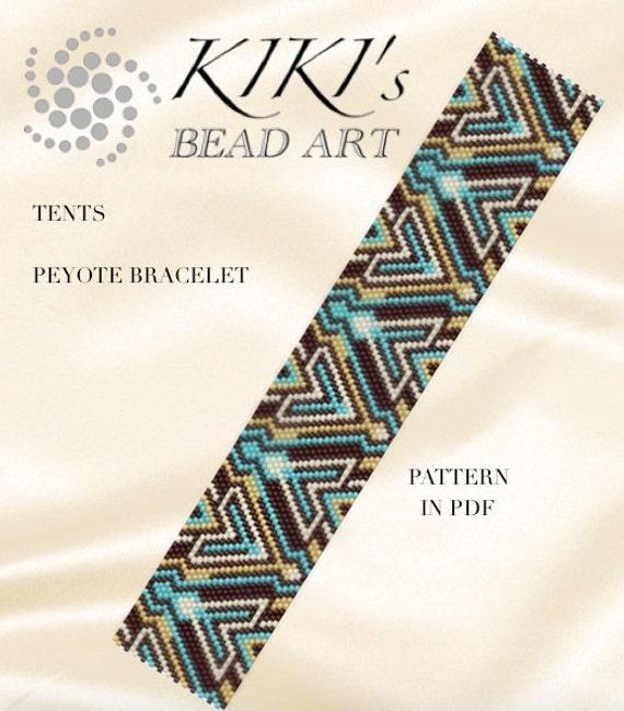 Peyote bracelet pattern Tents peyote pattern for bracelet in PDF - geometric patterned - instant download  sc 1 st  Etsy & Peyote bracelet pattern Tents peyote pattern for bracelet in