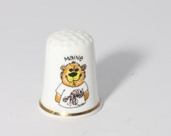 Maine Porcelain Thimble Gimbel & Sons Collectible - England