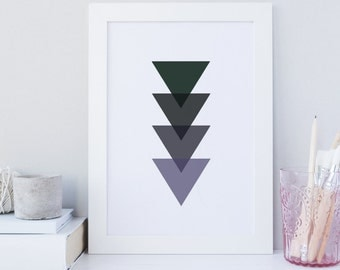 Enchanted Forest wall art, Enchanted forest print, Triangle print, modern wall art, Echanted Forest Triangle Shades, printable minimalist