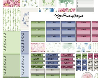 """Set of Two Printable """"Pledges and Peonies"""" Planner Stickers"""