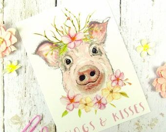 Pig Print Postcard, Cute Funny Pig Stationary