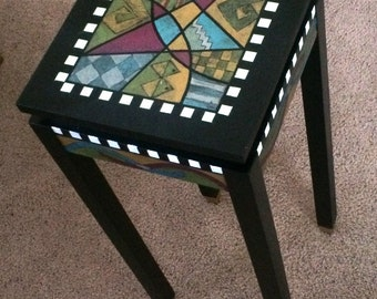 Handpainted pedestal accent table