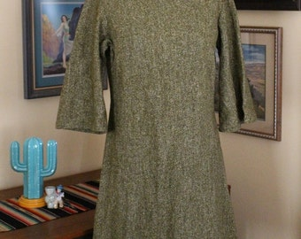 1960's Olive Tweed A-line Dress