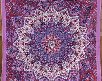 Reduced Shipping! Twin Size Fabric - Star Mandala with Elephants - Colors include Purple, Red and more - Tapestry Bohemian Boho