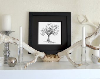 Winter Tree Freehand Ink Drawing Limited Edition Print, Signed, Numbered 8 in x 8 in