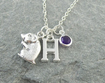 Hamster necklace, personalized jewelry, swarovski birthstone, initial necklace, silver hamster charm, birthstone jewelry, gerbil necklace