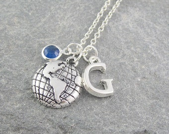 Globe necklace, personalized jewelry, initial necklace, swarovski birthstone, silver chain, travel gift, world map, atlas necklace