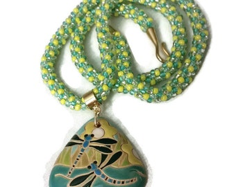 Dragonfly Pendant On A Kumihimo Necklace