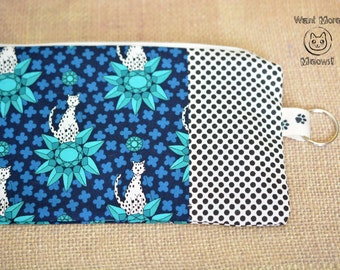 Cat pencil case, Make up bag, Cat lover gift, Crazy cat lady, Toiletry bag, Lotus zen cat phone case, Zipper pouch, Blue turquoise wallet